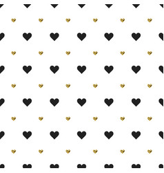 seamless pattern with black and gold heart shapes vector image