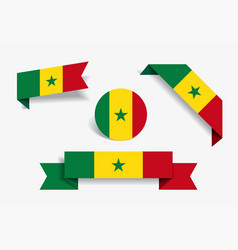 senegalese flag stickers and labels vector image