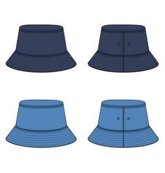 Set color with denim panama hat vector