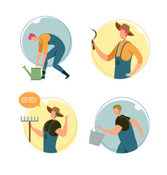 Set happy characters farm workers vector