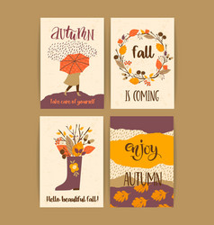 set of autumn templates design for card vector image