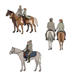 set of loving couple riding a horse colorful hand vector image