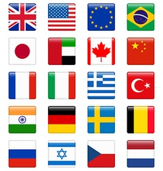 Set of popular country flags Glossy square icon vector image