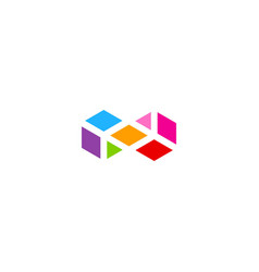 shape square infinity colorful logo vector image