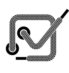 Shoe lace checkmark symbol vector
