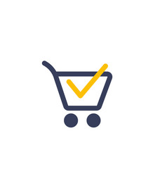 Shopping cart completed order purchase icon vector