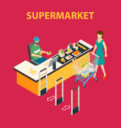 shopping mall supermarket composition vector image