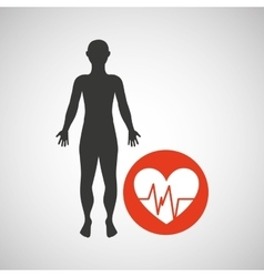 silhouette man fitness monitoring heart vector image