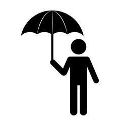 silhouette person umbrella standing design vector image