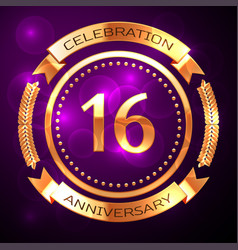 sixteen years anniversary celebration with golden vector image