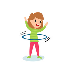 smiling little girl character spinning a hula hoop vector image