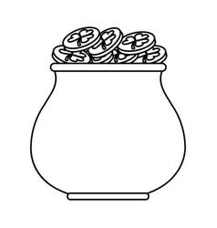 St patricks day gold cauldron treasure thin line vector