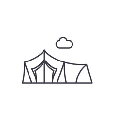 tent line icon concept tent linear vector image