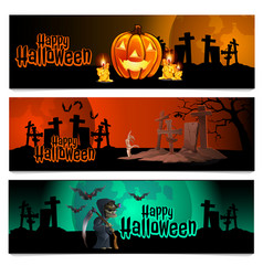 three horizontal cards on theme the vector image