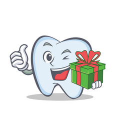 Tooth character cartoon style with gift vector