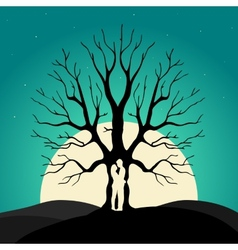 Two enamored under a love tree vector