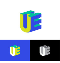 u e and h logo volume monogram vector image