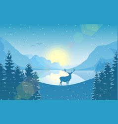 winter mountain landscape with falling snow vector image