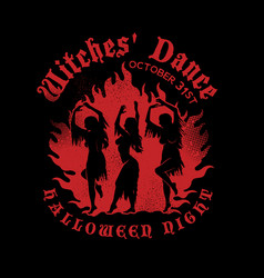 Witches dancing near a campfire in the meadow vector