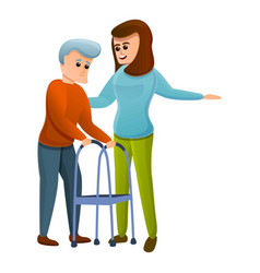 Woman helps an old man icon cartoon style vector