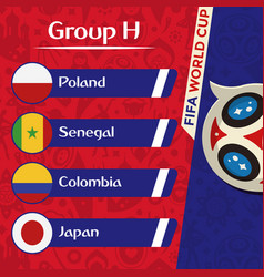 World cup 2018 group h team image vector