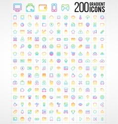 200 trendy thin gradient icons vector