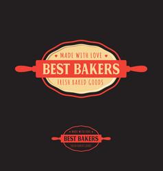 bakery logo emblems rolling pin dough vector image