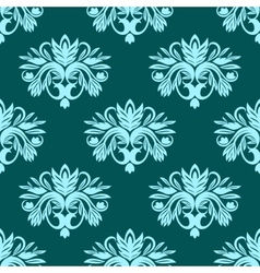 Blue and green seamless floral pattern vector