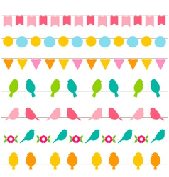 bunting and birds borders set vector image