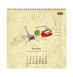 Calendar 2014 november Streets of the city sketch vector image vector image