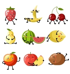 Fresh fruit apple cherry watermelon kiwi vector image