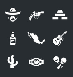 set of mexico icons vector image
