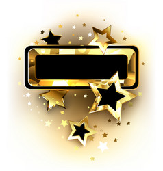 small banner with golden stars vector image