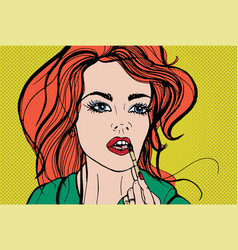 young pretty woman putting decorative cosmetics or vector image