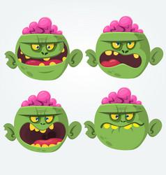 zombie head scary cartoon emotion flat icons vector image vector image