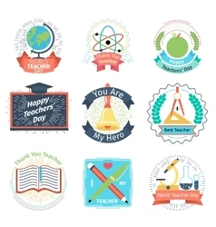 Color retro teachers day logos set vector image