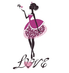 Princess silhouette with heart vector image