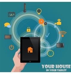 Smart home detectors control concept via tablet vector image