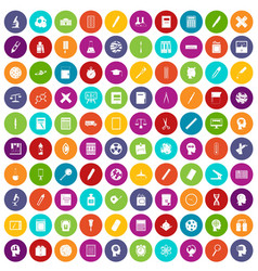 100 learning icons set color vector