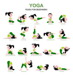 cartoon girl in yoga poses with titles for vector image vector image