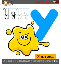 Letter y with cartoon yellow color vector