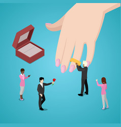 people putting wedding ring on brides hand vector image