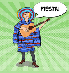 pop art mexican in sombrero with guitar vector image