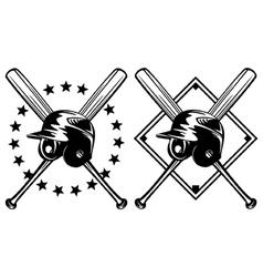 baseball helmet and crossed bats vector image