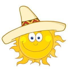 Happy Sun Wearing A Sombrero vector image
