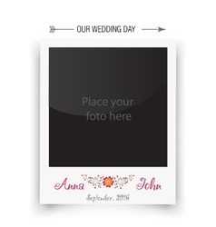 Retro wedding photo frame polaroid Template for vector image vector image