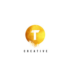 t gold letter logo design with round circular vector image