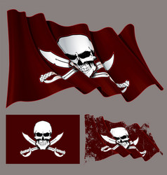 waving pirate flag skull and swords vector image vector image