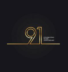 91 years anniversary vector image