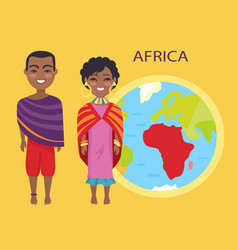 Africa on globe and people vector